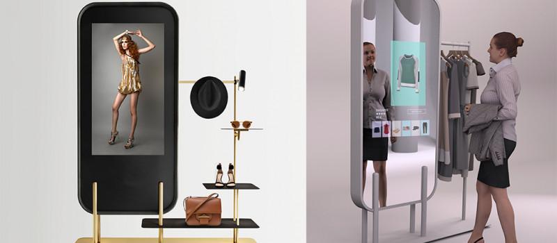 Totem digitale con vetrina e scaffali incorporati